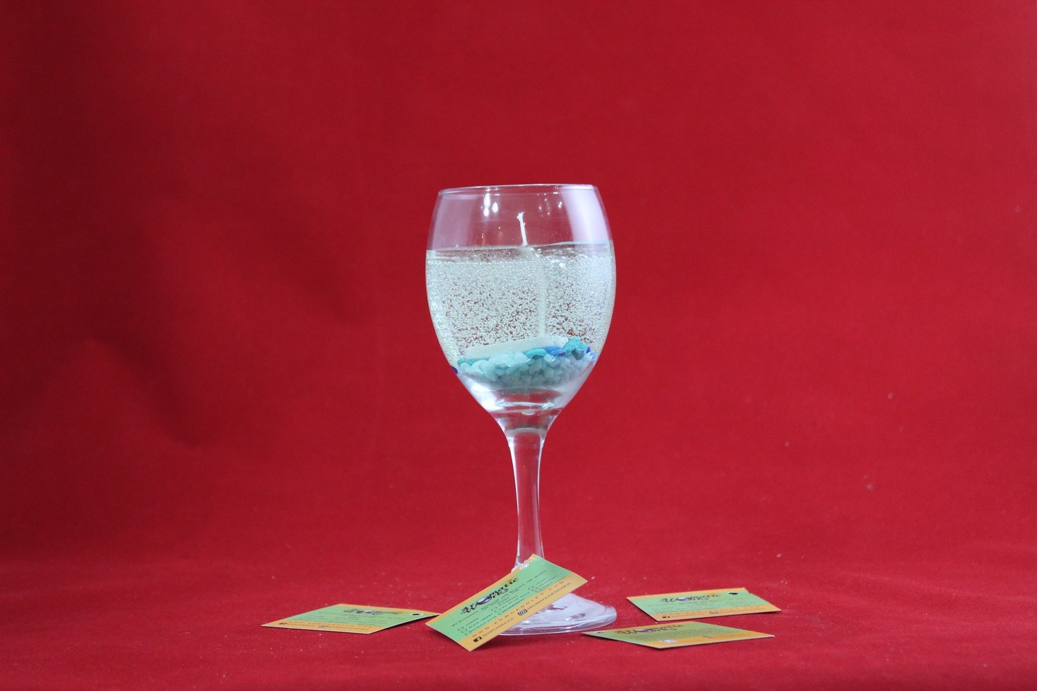 Cool Water Scented Gel Candle In Wine Glass with Dominoes Embeds