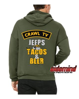 Jeeps, Tacos & Beer Hoodie - Military Green