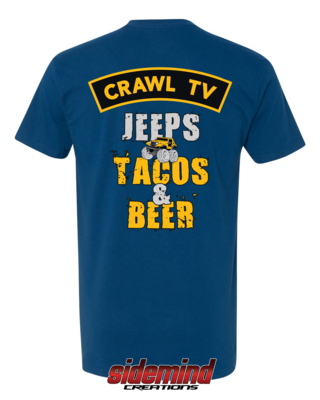 Jeeps, Tacos & Beer T-Shirt - Cool Blue