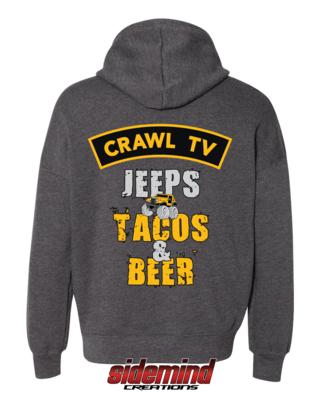 Jeeps, Tacos & Beer Hoodie - Dark Heather