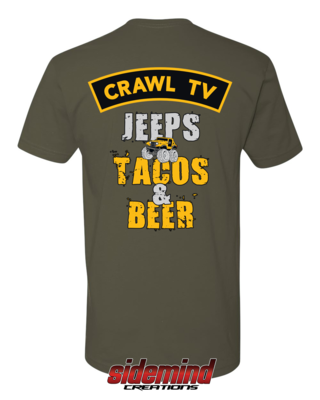 Jeeps, Tacos & Beer T-Shirt - Military Green