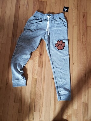 J. America - Peppered Fleece Joggers with Orange/Black Glitter Paw