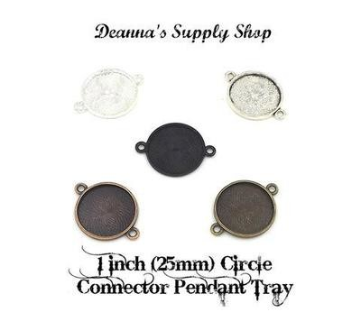 1 Inch (25MM) Connector Circle Pendant Tray in Choice of 5 Colors