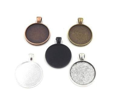 1 Inch (25MM) Double Sided Circle Pendant Tray in Choice of 5 Colors