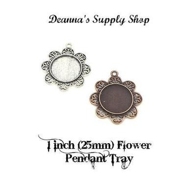 1 Inch (25MM) Flower Circle Pendant Tray in Choice of Colors