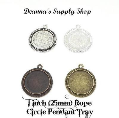 1 Inch (25MM) Rope Circle Pendant Tray in 4 Choice of 4 Colors