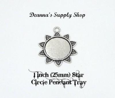 1 Inch (25MM) Star Circle Pendant Tray in Antique Silver