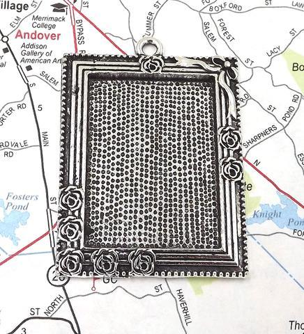 25x35MM Rectangle Rose Frame Pendant Tray in Antique Silver 00071
