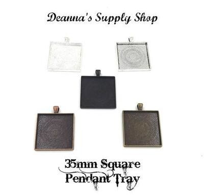 35MM Square Pendant Tray in Choice of 5 Colors