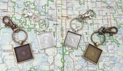 1 Inch (25MM) Square Pendant Key Chain