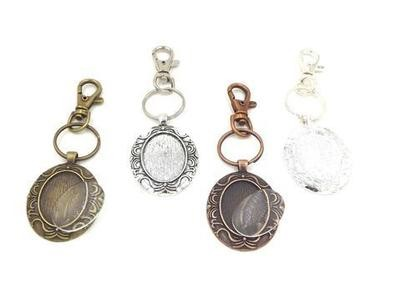 22x30MM Beard Oval Pendant Key Chain With Glass in Choice of 4 Colors