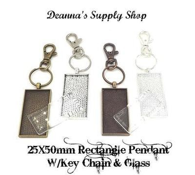 25x50MM Rectangle Pendant Key Chain With Glass in Choice of 4 Colors