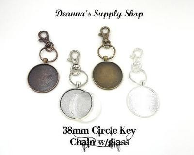 38MM Circle Pendant Key Chain With Glass in Choice of 4 Colors