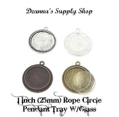 1 Inch (25MM) Rope Circle Pendant Tray With Glass Dome in Choice of 4 Colors