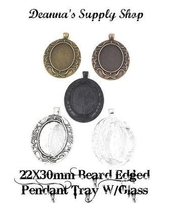 22x30MM Beard Edged Oval Pendant Tray With Glass in Choice of 5 Colors