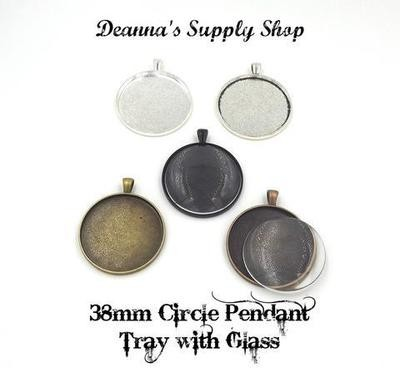 38MM Circle Pendant Tray With Glass Dome in Choice of 5 Colors