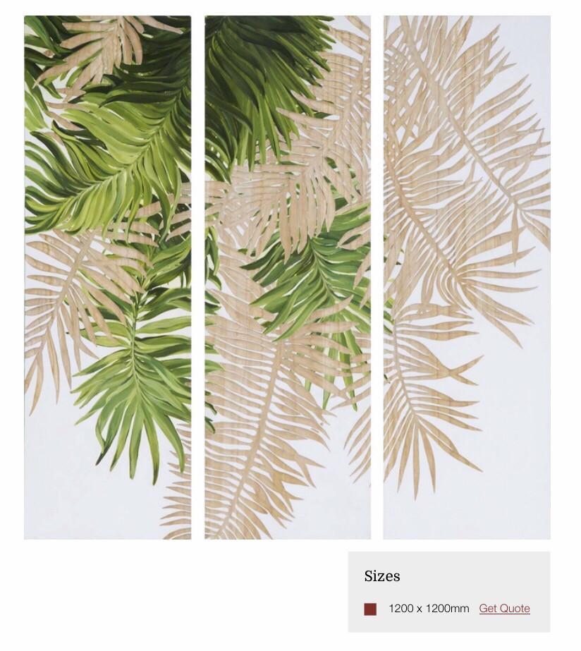 HP082 3 Panel Tropical Leaves Wood Art