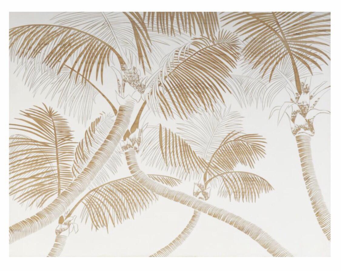 HP088 Single Wood Panel Palm Leaves