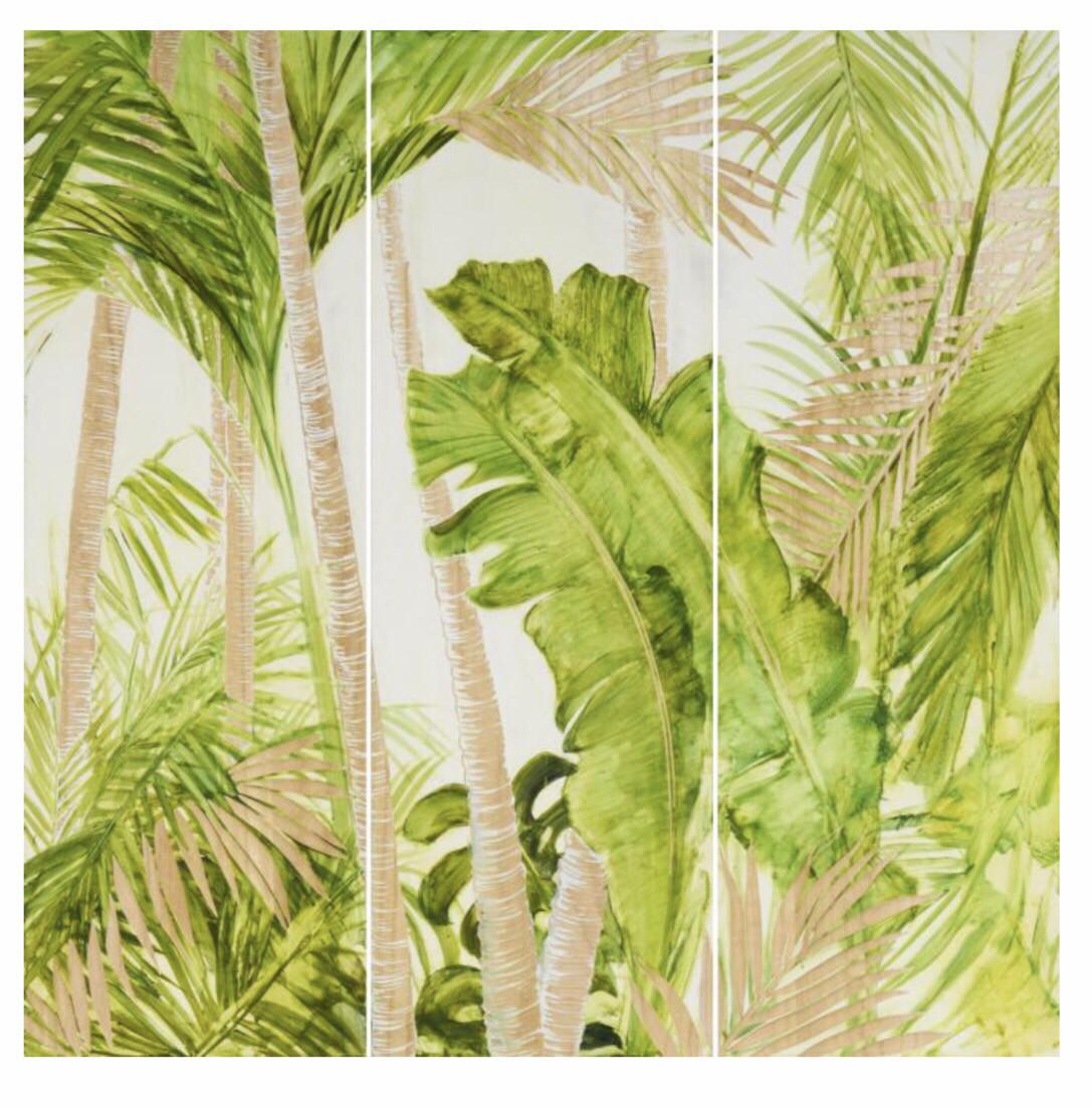 HP089 3 Panel Wood Art Tropical Palms