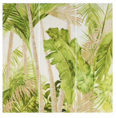 HP089 3 Panel Wood Art Tropical Palms