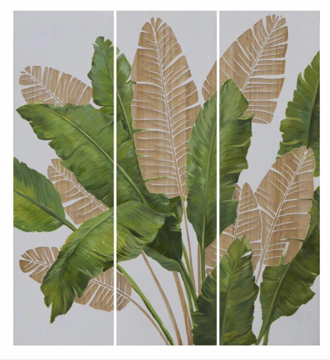 HP090 3 Panel Wood Art Leaves