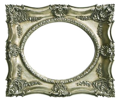 AF001 Silver ornate frame with oval mirror