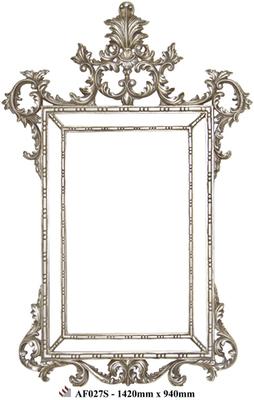 AF027 Silver ornate framed mirror