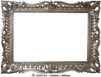 AF032AS Ornate antique silver framed mirror.