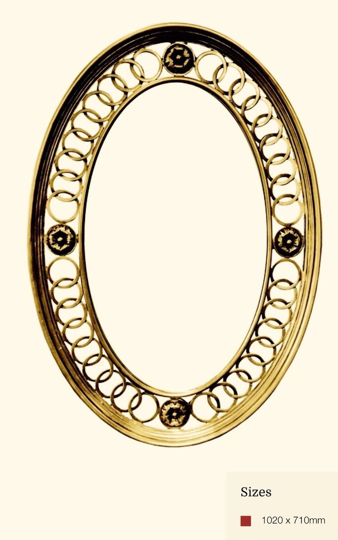 AF034 Oval detailed gold mirror
