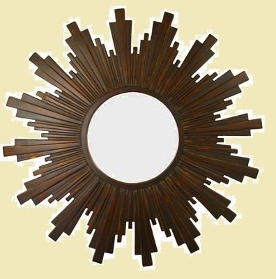 CFO91 Brown/burnt gold sunburst round mirror