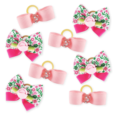 Combo Pretty Pink Pet Bows - 8 pieces