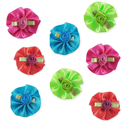 Combo Round Bows with Flowers - 8 pieces