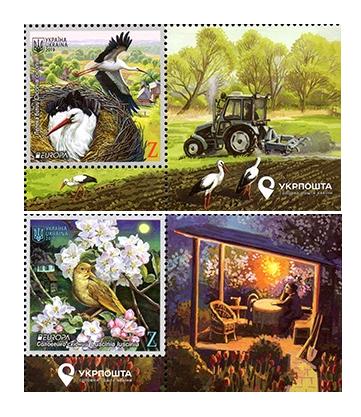 Украина. EUROPA. Национальные птицы. Белый аист и обыкновенный соловей. Серия из 2 марок с купонами UA2019/34-35 sc
