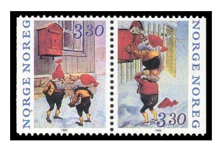Норвегия. Рождество. Сцепка из 2 марок