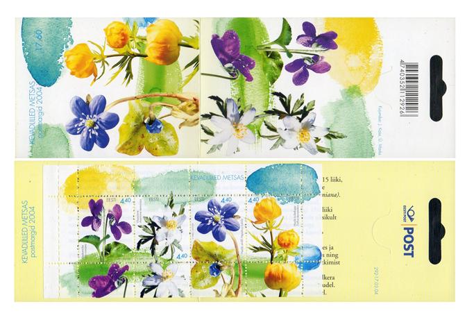 Эстония. Весенние цветы. Буклет с почтовым блоком из 4 марок EE2004/4-7 bk