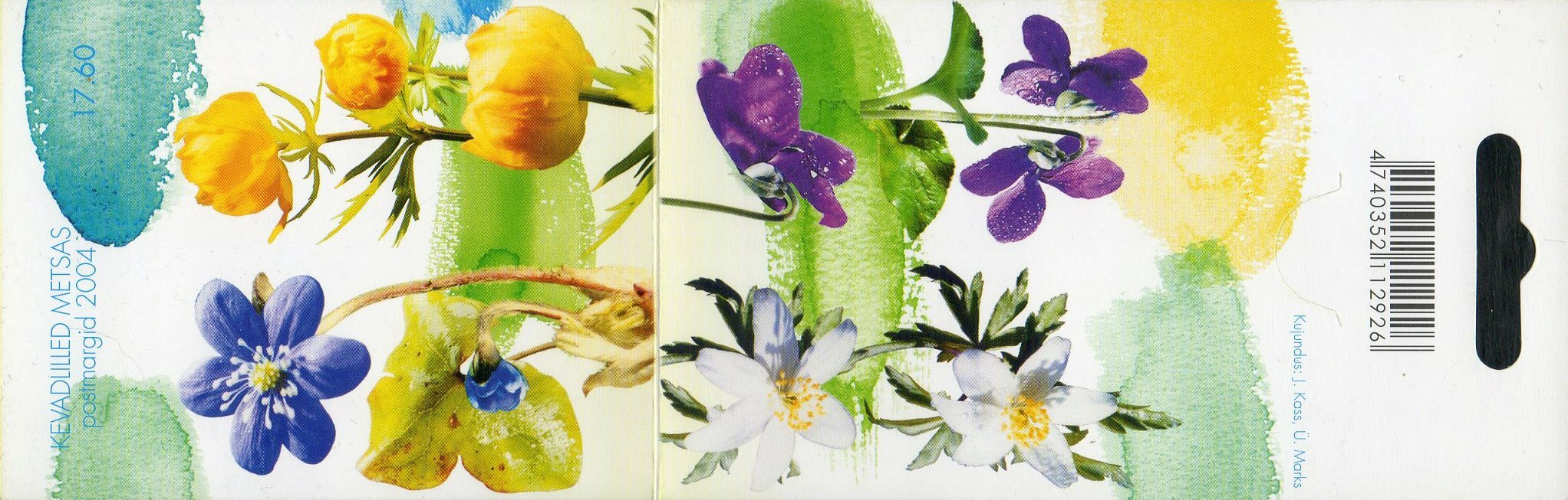 Эстония. Весенние цветы. Буклет с почтовым блоком из 4 марок