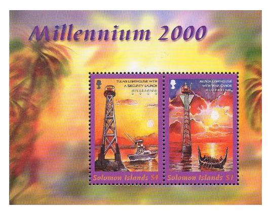 Соломоновы острова. Миллениум. Маяки. Почтовый блок из 2 марок SB2000/3-4 b