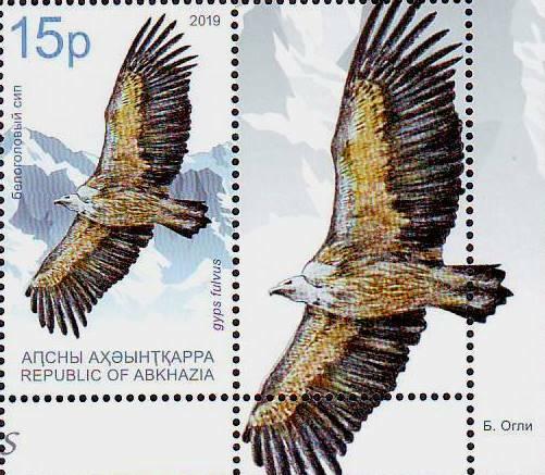 Абхазия. Птицы года: белоголовый сип и беркут. Серия из 2 марок с купонами