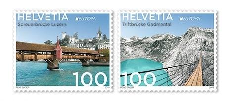 Швейцария. EUROPA. Мосты. Серия из 2 марок CH2018/17-18