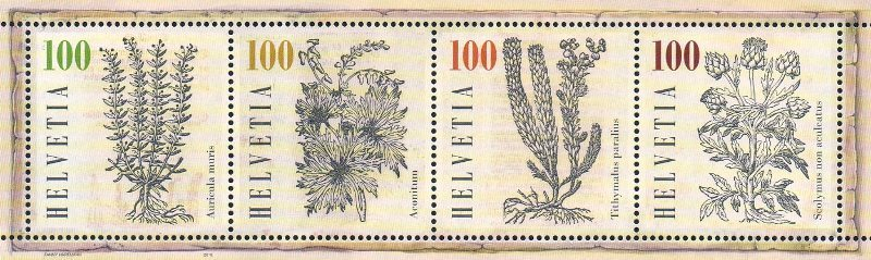 Швейцария. Лекарственные растения. Почтовый блок из 4 марок CH2018/46-49 b