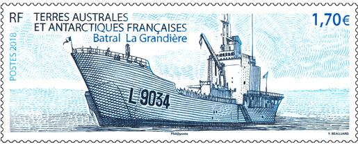 "ФЮАТ. Транспортное судно ""La Grandiere"". Марка TF2018/13"