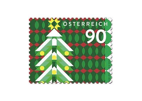 Австрия. Рождество. Модерн. Рождественская ёлка. Самоклеящаяся марка AT2018/62