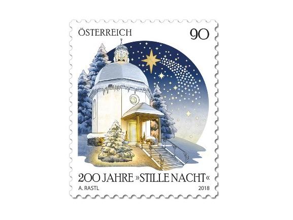 """Австрия. Рождество. 200-летие рождественского гимна """"Тихая ночь"""". Марка AT2018/63"""