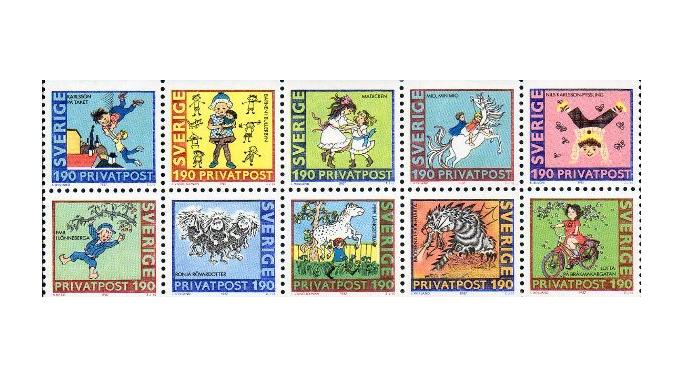 Швеция. 80 лет со дня рождения Астрид Линдгрен (1907-2002), детской писательницы. Сцепка из 10 марок SE1987/16-25 c