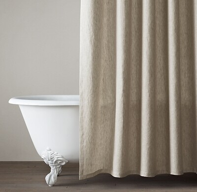 Pure Linen 100% Flax Fabric Moisture-Absorbing Shower Curtains