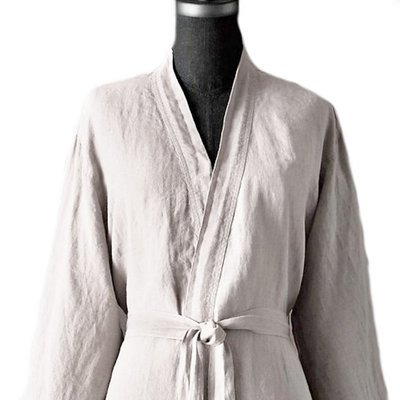 100% Pure Flax Linen Bathrobe, Unisex, 185 gsm