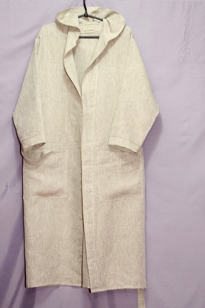 Unisex Hooded 100% Pure Flax Linen Bathrobe