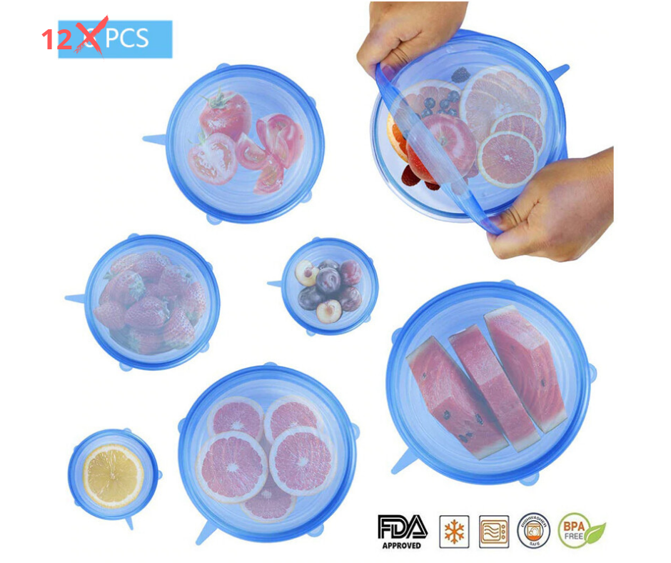 12 Pcs Silicone Reusable Food Lids