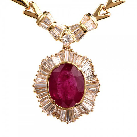 18K Yellow Gold Burma Ruby and Diamond Necklace