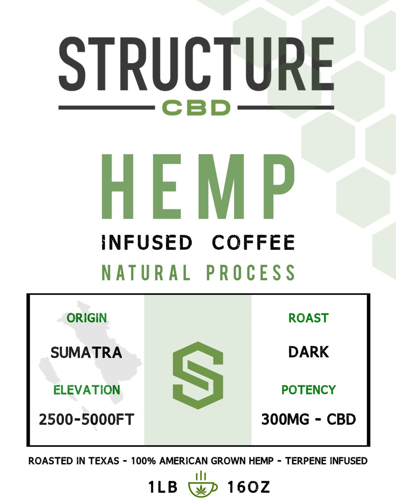 Structure Sumatra Coffee 1lb 300mg COFFSUM